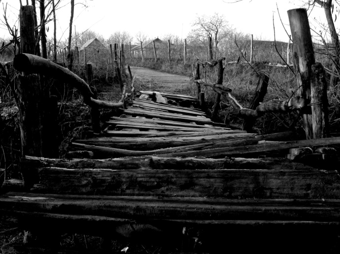 Broken Bridge In Black